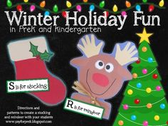 Two cute crafts to decorate your classroom (or home) this holiday season!  You'll receive all of the patterns and tracers to create this reindeer and stocking, just add handprints!  I love generating patterns for my crafts digitally, saves me all that tracing!