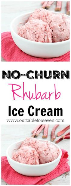 No Churn Rhubarb Ice Cream! Creamy, refreshing and packed with sweet rhubarb. No ice cream maker needed! Creamy, refreshing and packed with sweet rhubarb and No ice cream maker needed! Rhubarb Desserts, Frozen Desserts, Frozen Treats, Just Desserts, Delicious Desserts, Dessert Recipes, Frozen Rhubarb Recipes, Healthy Rhubarb Recipes, Rhubarb Ideas