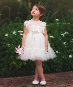 Look at this White Aura Dress - Toddler & Girls on #zulily today!