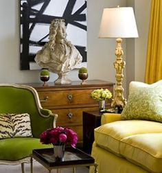 Use brightly colored Art and fabrics near your older antique furniture pieces for an interesting contrast