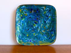 Mid Century Enamel on Copper Tray Signed Laura Smith at HotCoolVintage on Etsy