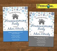 Personalized Housewarming Invitation Card  Snowflakes
