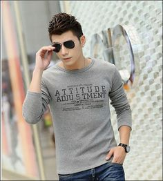 Wholesale Mens T Shirts - Buy Mens T Shirts Long Sleeve Round Neck Thicken Pullover Shirt Cotton Casual T-Shirts English Letters Gentle Styles Clothes, $9.32 | DHgate: http://www.dhgate.com/store/16974853#st-navigation-storehome