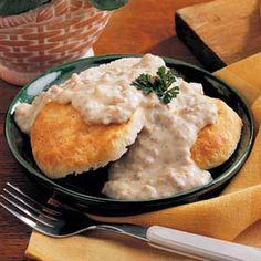 Home made biscuits and sausage gravy easy! http://accordingtobrian.com/biscuitsngravy