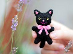 Needle Felted Cat, Black Cat Plush, Cat Soft Sculpture, Cat Miniature, Felt Cat, Felt Kitty, Cute Cat, Cat Figurine, Needle Felted Animal by ThreeLittleCatsShop on Etsy https://www.etsy.com/listing/240350778/needle-felted-cat-black-cat-plush-cat