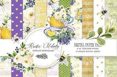 Watercolor  Cup, Seamless Patterns ,Lavender Planner Illustration ,Tea Cup ,Lavender Digital ,Paper Pack, Bee PaperPack