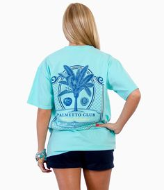 Palmetto Club, Short Sleeves, Ocean Blue #SouthernShirtCrush ~ Cute for people like me who always are dreaming of palm tree days!
