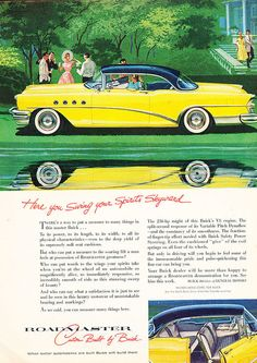 1955 Buick Roadmaster yellow - Original Car Advertisement Print Ad J124