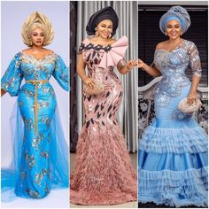 "Which is your fave?💕🎀💝😋😘🔥 . . Please Follow @bellelafriq DM @owambeglamour for advert . . . . . #asoebi #asoebiinspiration #asoebi_classic…"" • Oct 15, 2019 at 12:56pm UT African Lace Dresses, Latest African Fashion Dresses, African Dresses For Women, African Print Fashion, African Attire, African Wear, African Style, Lace Gown Styles, Aso Ebi Lace Styles"