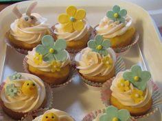Easter gumpaste decorations. Easter Cupcakes, Mini Cupcakes, Cupcake Decorations, Gum Paste, Desserts, Food, Tailgate Desserts, Deserts, Essen