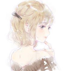 Pretty Anime Girl, Beautiful Anime Girl, Kawaii Anime Girl, Anime Art Girl, Manga Girl, Anime Guys, Blonde Hair Anime Girl, Angel Manga, Anime Korea