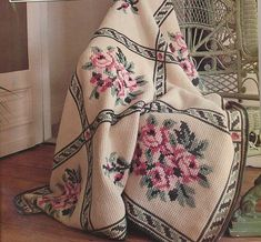 Embroidered Tunisian Afghan - The pattern & yarn colors are not available, apparently, but wow, how gorgeous it is.