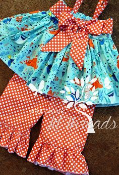 Baby Toddler Girls Finding Dory Big Bow Tunic Ruffle Pant Set by PreciousLilThreads