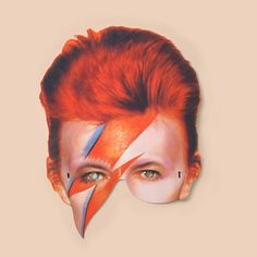 David Bowie Mask - Mamelok Papercraft - Embossed, diecut Victorian scrap reliefs, greeting cards, party masks, Christmas garlands