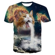 Healthy Clubs 3D Wolke Katze Gesicht Grafik Basic Tee Kurzarm T-shirt für Männer Herren