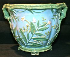 Minton Turquoise Bamboo Jardiniere. Majolica International Society image from the Karmason Library Master File.
