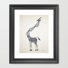 """Giraffe Framed Art Print The Scoop frame is made from solid wood with a contemporary, scooped profile measuring 1.06"""" wide x 1.06"""" deep. A gesso coating gives the moulding rich color and a smooth finish. #giraffe, #ink, #illustration, #black and white"""
