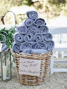 Fall wedding outdoors?  Offer your guests a throw to stay warm during your nuptials.
