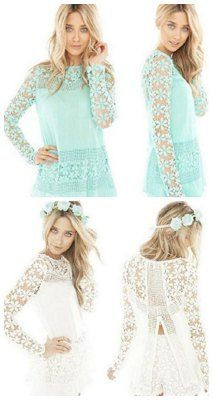 Chiffon Lace Top, LOVE these perfect for spring.  Fashion deals for less, teal or white lace top