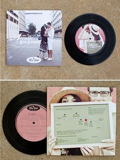 oooo good idea for wedding invites! You can buy a whole bunch of old, worthless records and put stickers on them