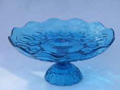 colonial blue moon & star pattern glass, salver / rolled edge compote