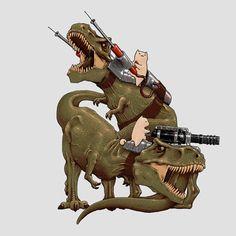 Cats Riding T-Rexs T-Shirt $20