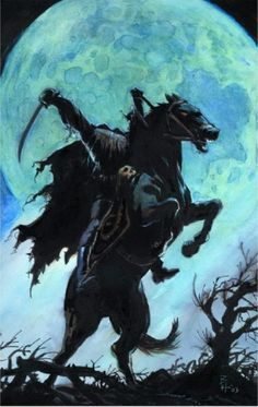 Of course, my middle-reader's book, Halloween Kentucky Style, has a headless horseman, but this one even small children will enjoy. Halloween Artwork, Halloween Pictures, Arte Horror, Horror Art, Horror Comics, Holidays Halloween, Halloween Fun, Halloween Legends, Sleepy Hollow Headless Horseman
