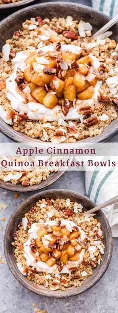 Cinnamon Quinoa Breakfast Bowls are the coziest way to start your morning . - -Apple Cinnamon Quinoa Breakfast Bowls are the coziest way to start your morning . Breakfast And Brunch, Quinoa Breakfast Bowl, Apple Breakfast, Healthy Breakfast Recipes, Brunch Recipes, Gourmet Recipes, Brunch Ideas, Quinoa Bowl, Healthy Morning Breakfast