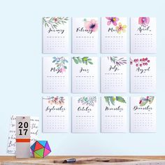 Printable Calendar 2017 Floral Calendar von FearlessConfetti