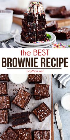 Your Search For The Best Brownie Recipe Is Overthese Homemade Brownies Aredecadently Rich, Chocolatey And Fudgy With The Perfect Crackly Top. You'll Never Reach For The Box Mix Again. Get All The Tips And Print The Recipe At Via Tidymom Best Brownie Recipe, Brownie Recipes, Cookie Recipes, Fun Desserts, Delicious Desserts, Dessert Recipes, Strawberry Desserts, Bar Recipes, Family Recipes