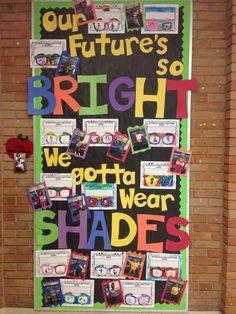 Our Future's So Bright We Gotta Wear Shades - bulletin board - black and neon