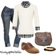 Love it except I think a mustard yellow sweater over the blue plaid would be absolutely perfect :)