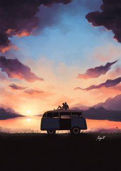 Illustrations, Illustration Art, Pinturas Disney, Psy Art, Sunset Landscape, Digital Art Girl, Scenery Wallpaper, Anime Scenery, Summer Art