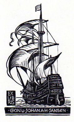 Exlibris Old Sailboat with 3 Masts