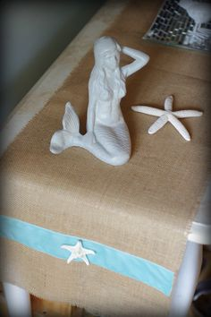 """Beach Decor White or Natural Burlap Table Runner with Aqua Velvet Ribbon and White Starfish - 60"""" x 12"""" inches"""