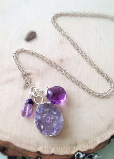 Raw Amethyst Faceted Amethyst Sterling Silver by Bellebijouatelier, $50.00