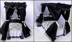 Black and white gothic victorian bedroom Doll by DollsThell