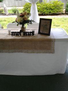 Beginning to set up bridal table