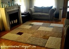 Large area rug DIY for under $30 from carpet samples and rug tape.