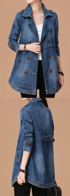 Women's Denim Jackets : Long Sleeve Notch Collar Button Embellished Denim Coat. Look Fashion, Denim Fashion, Autumn Fashion, Fashion Outfits, Womens Fashion, Fashion Coat, 80s Fashion, High Fashion, Denham Jeans