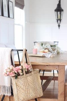 28bd6ea8ee0 A pretty farmhouse dining room decorated for spring! Design Your Own Home