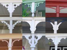 Some sample porch bracket styles. Porch brackets make SUCH a difference! - Some sample porch bracket styles. Porch brackets make SUCH a difference! Victorian Porch, Victorian Farmhouse, Victorian Homes, Home Porch, House With Porch, Porch Trim, Roof Trim, Porch Brackets, Stair Brackets