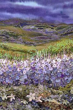 Gilda Baron Scottish highlands embroidery sample by mamie Silk Ribbon Embroidery, Embroidery Art, Embroidery Stitches, Textiles, Felt Pictures, Fabric Pictures, Quilt Modernen, Scottish Highlands, Thread Painting