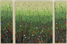 Commission for private home. Main panel 80 cm w x 90 cm h. Side panels each 25 cm w x 90 h. Smalti, custom fused glass, millefiori, coloured golds.
