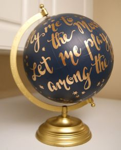 "Custom Hand Painted Constellation Globe, Hand Lettering, 12"" Anthropologie Inspired **Made to Order**"