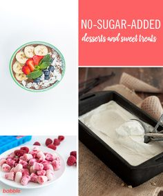 Get healthier this year by reducing your family& sugar consumption without sacrificing sweet treats with these delicious and sugar-free desserts! Sugar Free Deserts, No Sugar Desserts, Sugar Free Snacks, Sugar Free Baking, Sugar Free Sweets, Easy Desserts, Delicious Desserts, Dessert Recipes, Healthy Sweet Treats