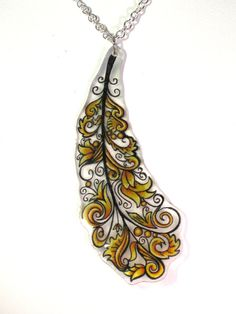 Canary Feather Shrinky Dink Necklace
