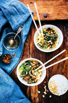 Dan Dan Noodles are major comfort food - thick, chewy noodles, ground pork, greens + an addictively spicy peanut sauce | www.foodess.com