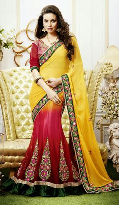 USD 113.5 Yellow and Pink Embroidered Chiffon Lehenga Saree 29091