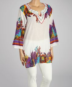 Love this White Beaded Paisley Notch Neck Tunic - Plus by Life and Style Fashions on #zulily! #zulilyfinds